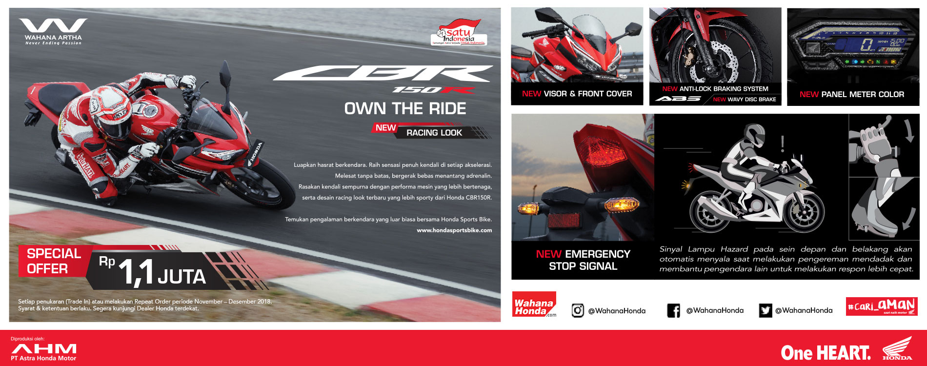 Special Offer Rp 1.1 Juta CBR 150 R  OWN THE RIDE  NEW RACING LOOK